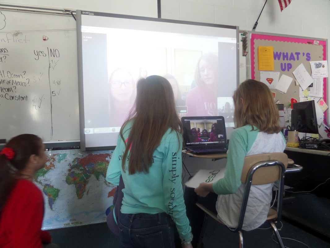 students in classroom using Skype